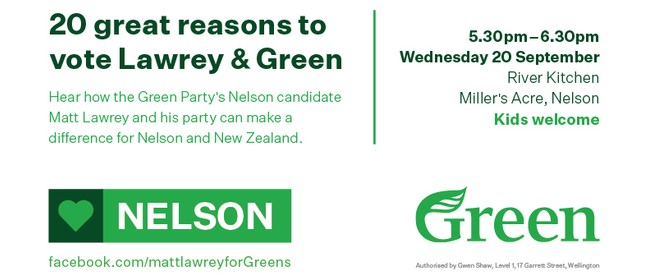 20 Great Reasons to Vote for Matt Lawrey & the Greens
