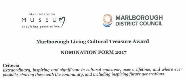 Marlborough Living Cultural Treasure Award Nominations
