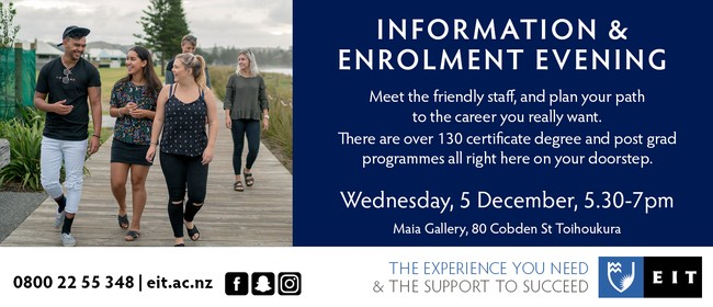 EIT Tairāwhiti Information and Enrolment Evening