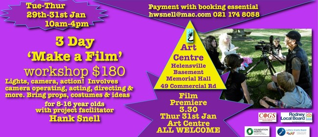 3 Day Film Making Workshop for 8-16 Year Olds