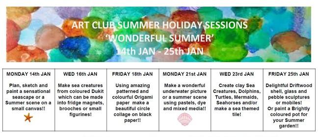Wonderful Summer Art Club Holiday Sessions