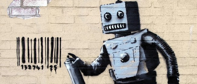 Wine and Paint Party - Banksy's Tagging Robot Painting