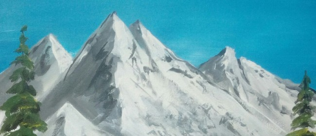 Paint and Wine Night - Bob Ross' Snowy Mountain - Paintvine