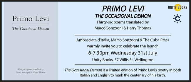 Book Launch - The Occasional Demon by Primo Levi