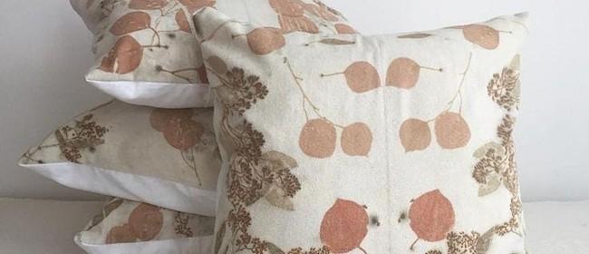 Eco Printed Wool Cushion Cover - Handmade Xmas