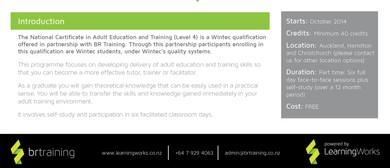 Fees Free Qualification - Nat Cert Adult Ed & Training (L4)