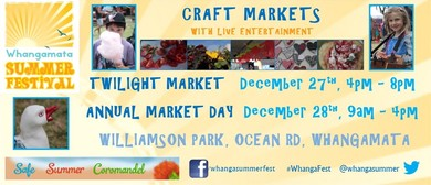 Whangamata Summer Festival Annual Craft Market Days