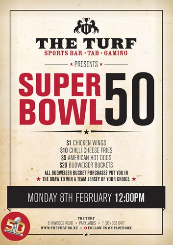 Super bowl date and time in Wellington