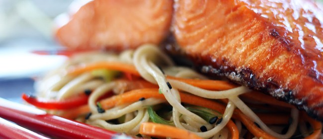Oyster Glazed Salmon with Soba Noddles - Cooking Class