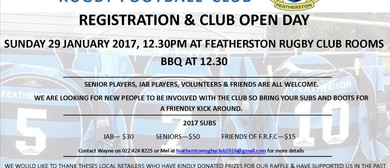 Featherston Rugby Football Club Registration & Club Open Day