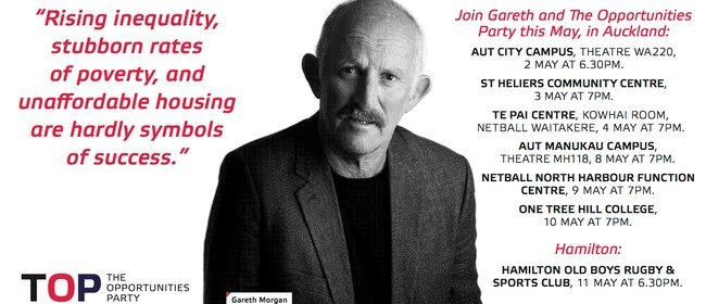 Gareth Morgan's Opportunities Party Hamilton Roadshow