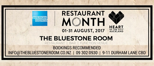 The Bluestone Rooms Restaurant Month Menu